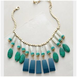 Green Equatorial Fringed Bib Statement Necklace